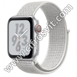 Фото - Умные часы APPLE WATCH NIKE+ 40mm SERIES 4 (GPS+4G) SILVER ALUMINUM CASE WITH SUMMIT WHITE NIKE SPORT LOOP SILVER ALUMINUM (MTX72)