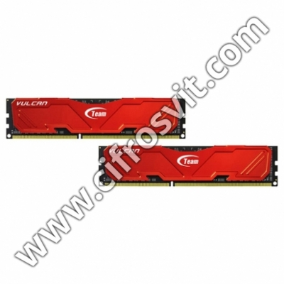 Фото -  Team DDR4 8GB (2x4GB) 2666 MHz T-Force Vulcan Red (TLRED48G2666HC15BDC01)